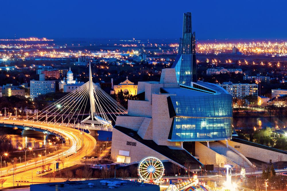 The city of Winnipeg at night, Manitoba