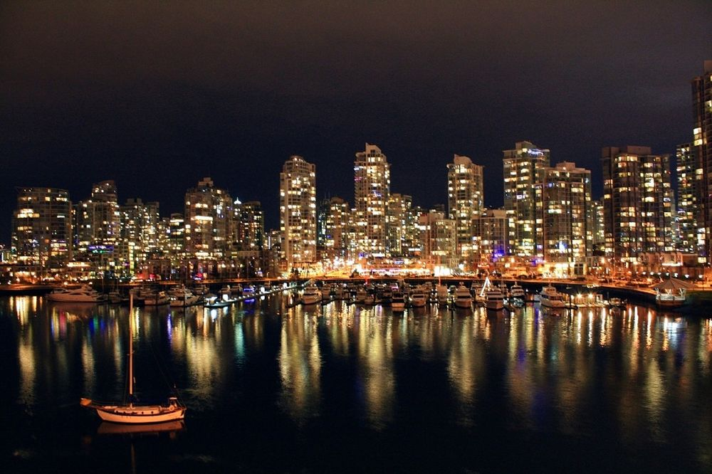 City lights at night in Vancouver