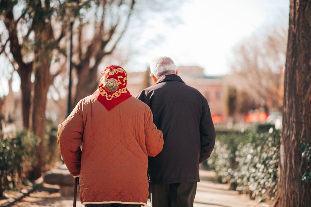 Elderly couple taking a walk