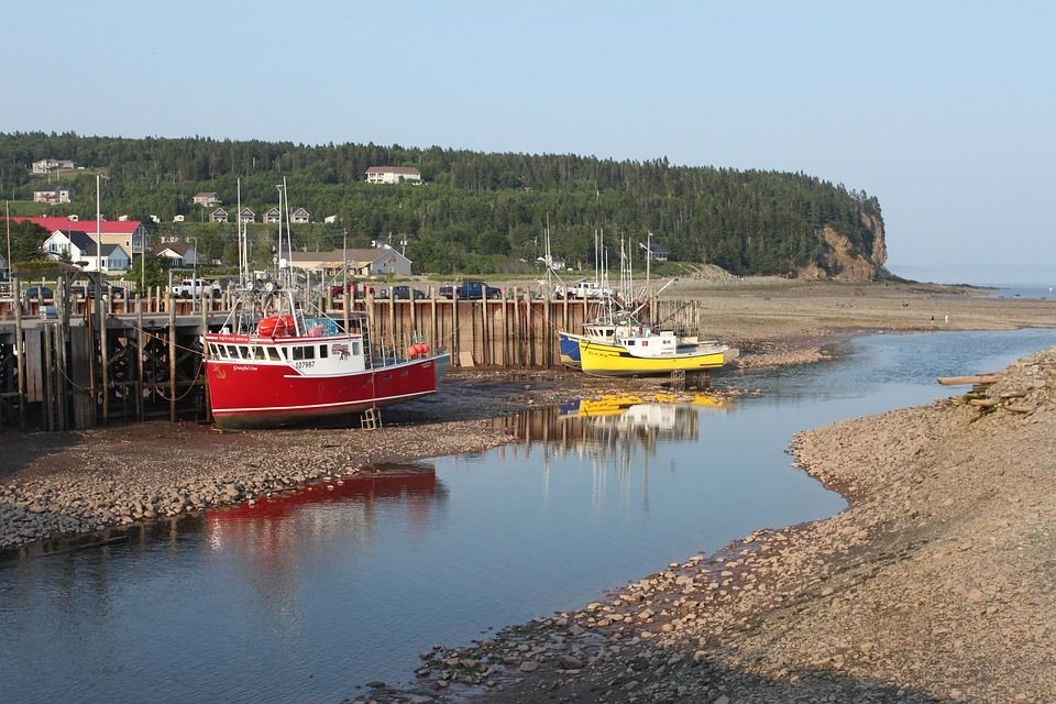 Alma harbor at low tide, New Brunswick