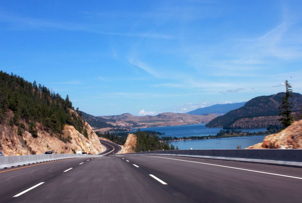 Lake Country highway in Okanagan Valley, Canada