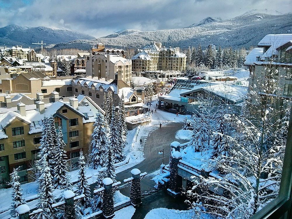 Beautiful snow covered view of Whistler city in Canada