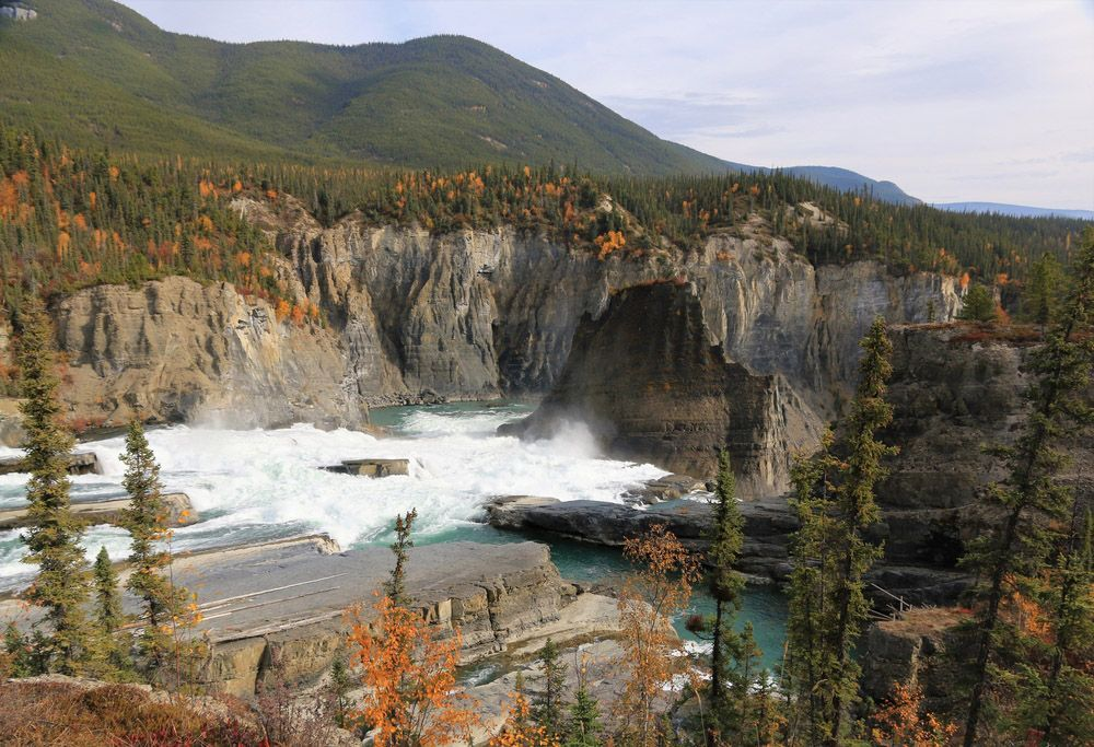 A spectacular view of the nahanni river waterfall in Canada