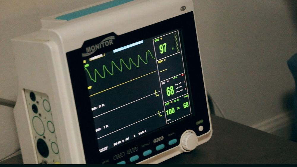 hospital monitor with heart rate readings