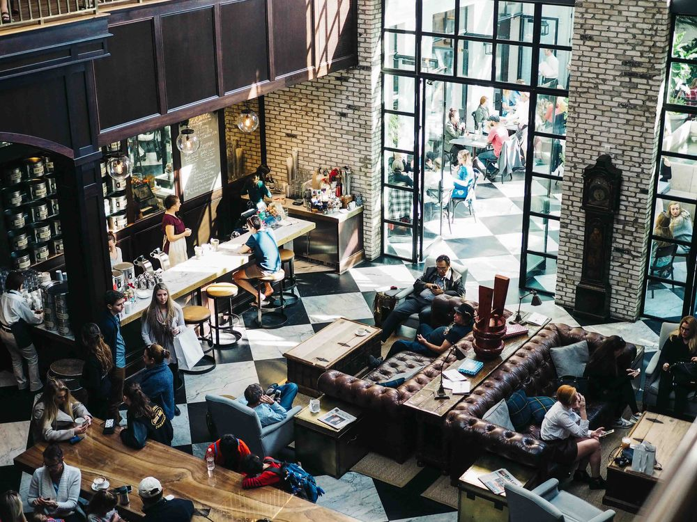 busy restaurant serving meals and coffee