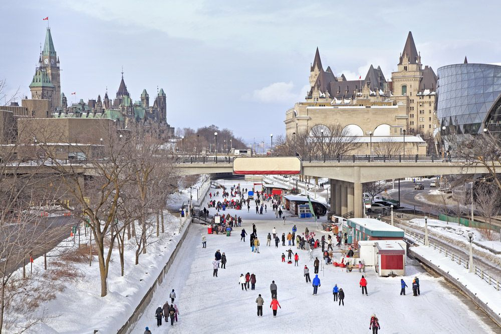 People skating on Rideau Canal, Ottawa Canada