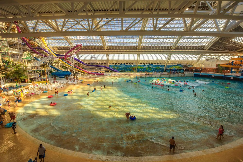People enjoying an indoor waterpark