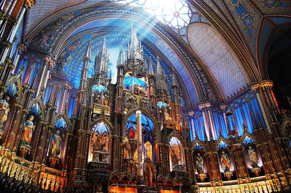 sun drenched altar in the Notre-Dame Basilica church
