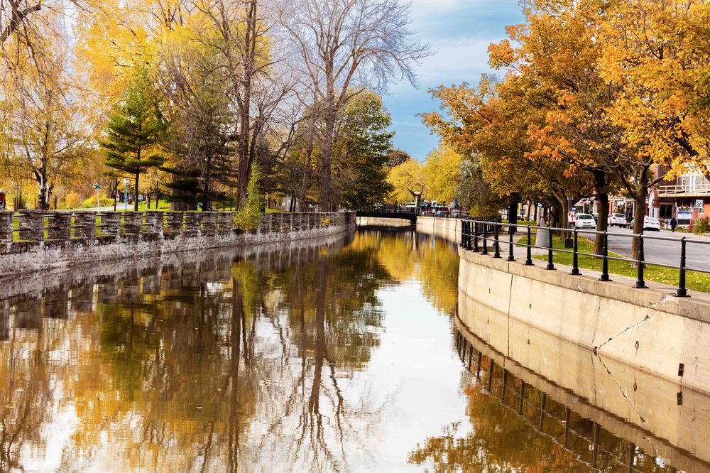 the lachine canal on a calm autumn day in montreal