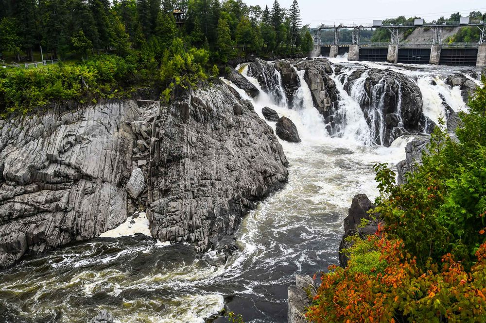 St John's River water falls, New Brunswick, Canada during the cool autumn months. Photo by Sandi Cullifer.