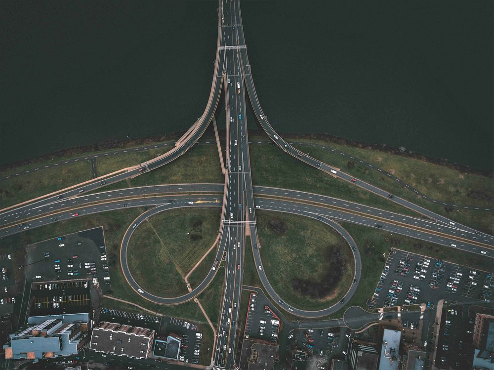 Aerial view of Fredericton main roads