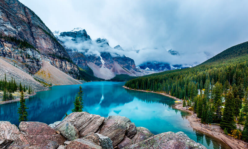 Turquoise waters of Moraine Lake Banff National Park Canada