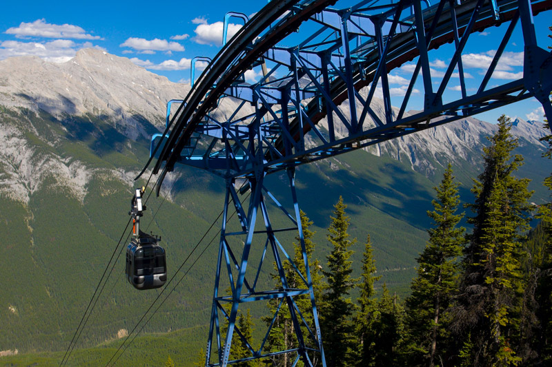 Sight Seeing Lift going up Rocky Mountains Banff National Park