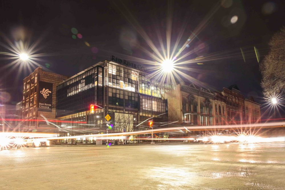 A nighttime scene of the trending Exchange District in Winnipeg. Photo from Shutterstock.