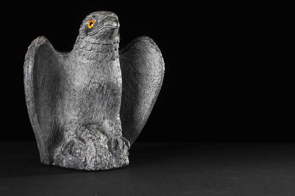 Beautiful eagle soapstone sculpture made by an Inuit sculpture. Photo by Alastair Wallace.