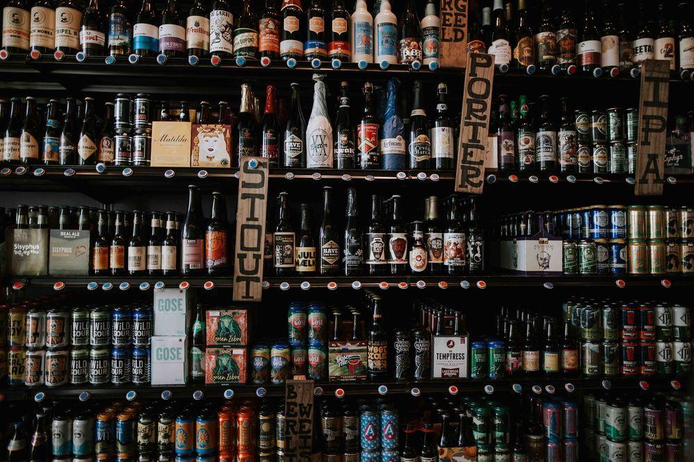 bottles on shelf