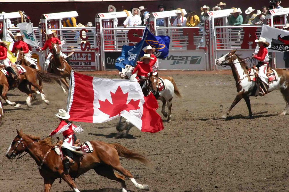 participants carrying canadian flags during the calgary stampede