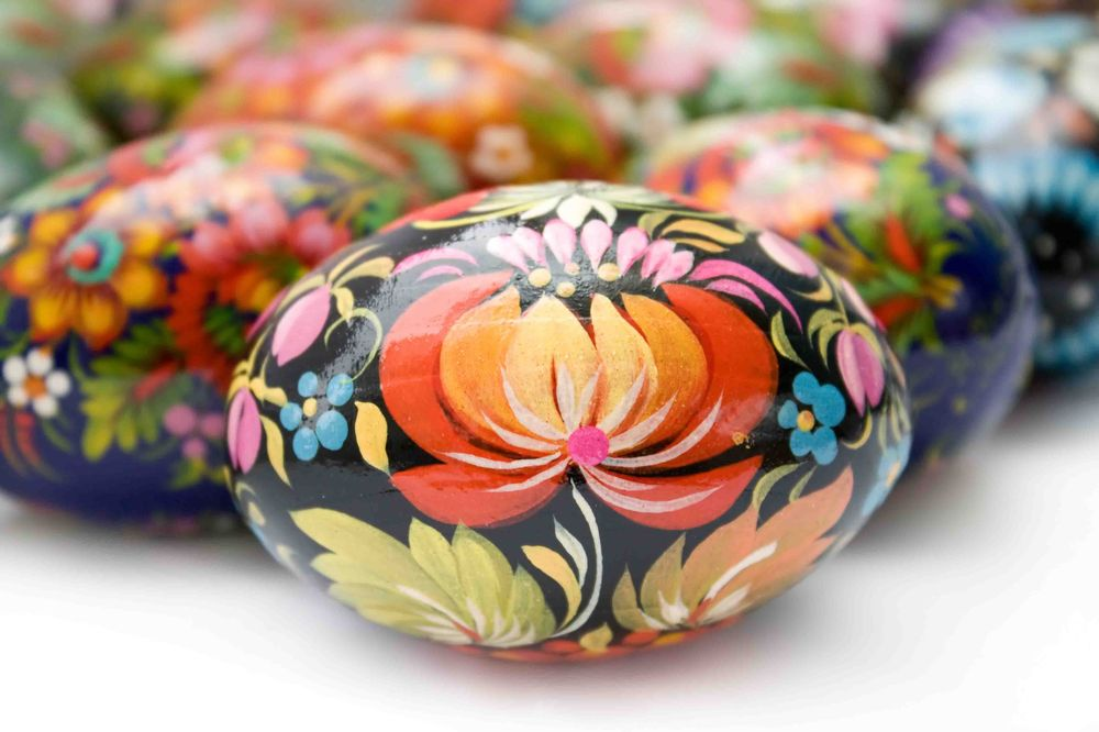 Traditionally painted Ukrainian easter eggs
