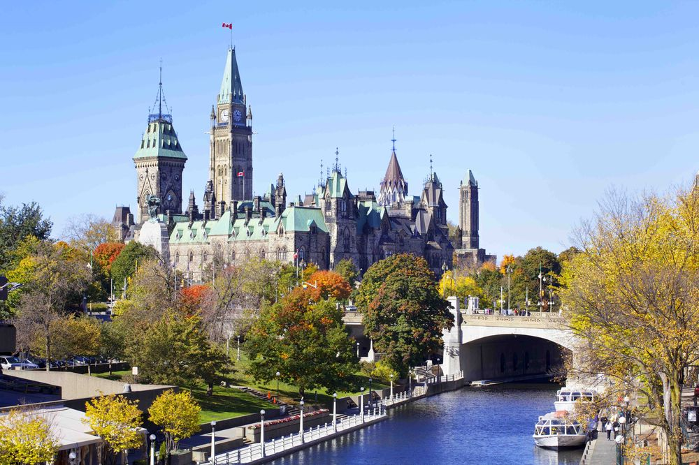 views of parliament hill from the rideau canal