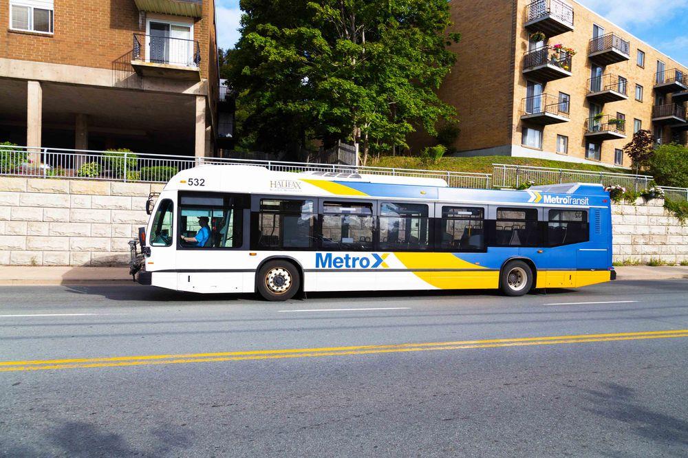 public bus along a rural road in Halifax