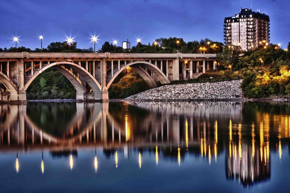 great view of the broadway bridge in saskatoon