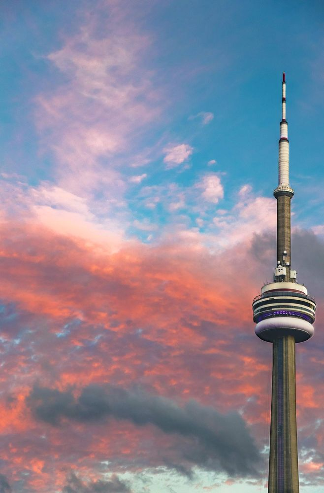 The sun setting on the CN Tower