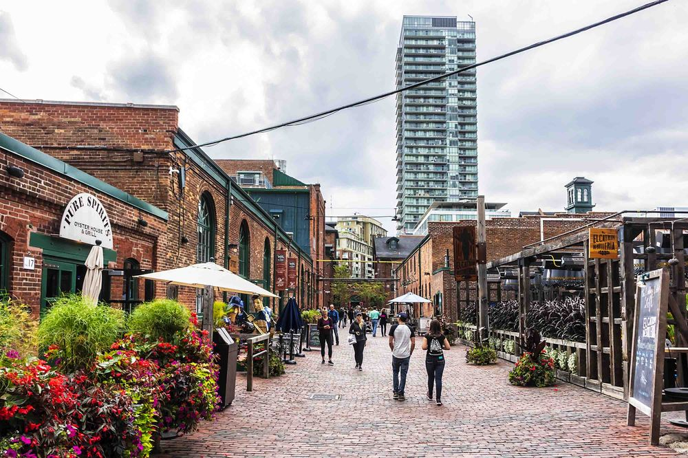 Toronto Distillery District including cafes and restaurants