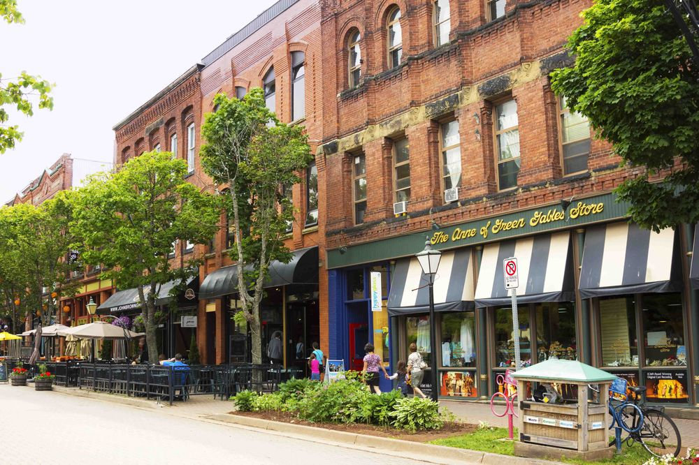 People browsing shops in Victoria Row Charlottetown Canada
