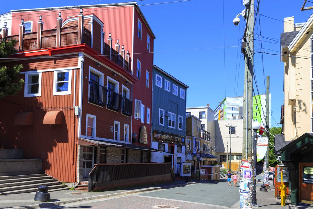 George St. in St John's known for its street bars that are a favorite for visiting tourists