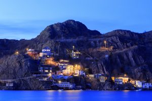 Colourful homes on the bay of St John's in Newfoundland and Labrador