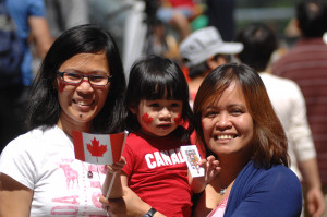 Women enjoying women's day celebrations in Vancouver, Canada