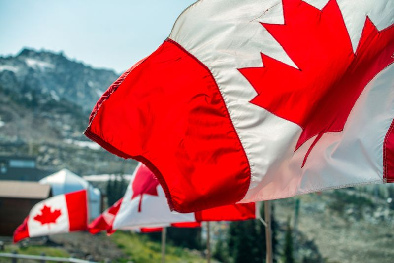 Canadian Flags blowing in front of mountains in Canada