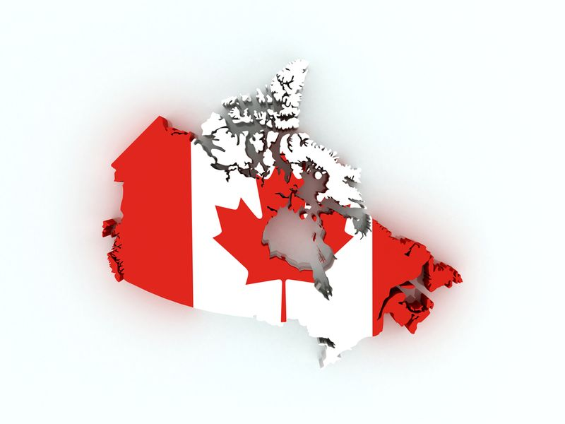Canadian flag map with provinces and territories | Canadian visa application