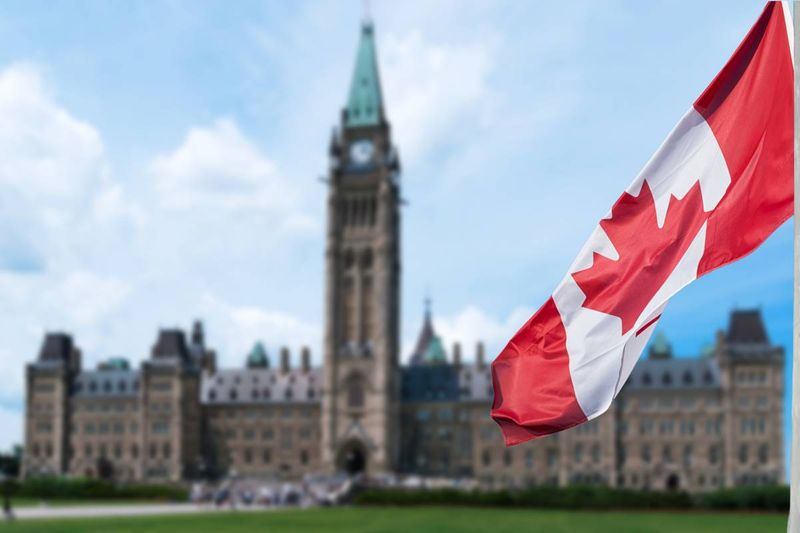 Canadian flag blowing in wind in front of Parliament