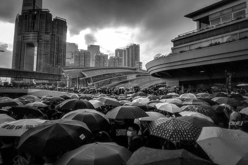 Hong Kong Umbrella movement protest crowds of people