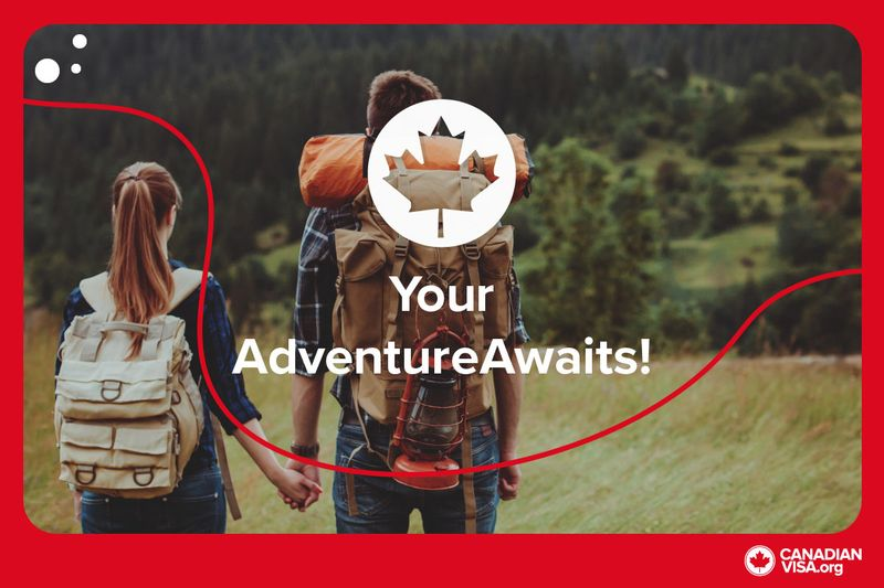 couple holding hands with backpacks travelling | Working Holiday Visa Canada