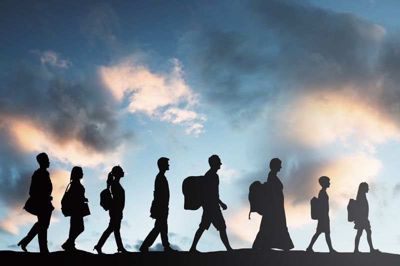 Immigrants walking