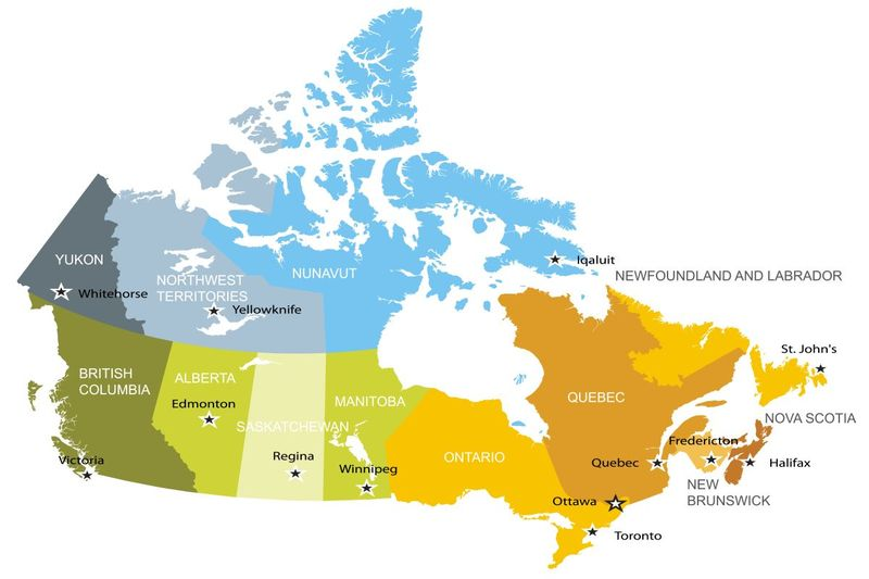 Map of provinces and territories in Canada immigration   live and work in Canada