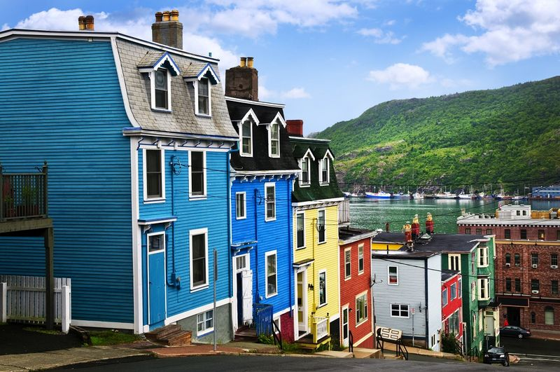 Colorful houses in small village of Newfoundland & Labrador