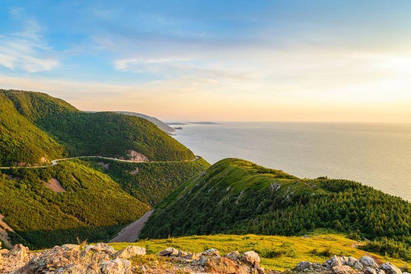 Skyline Trail look off at sunset over mountain in Cape Breton Nova Scotia Canada