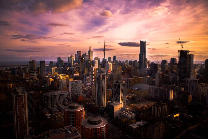 Sunset over Ontario/aerial view