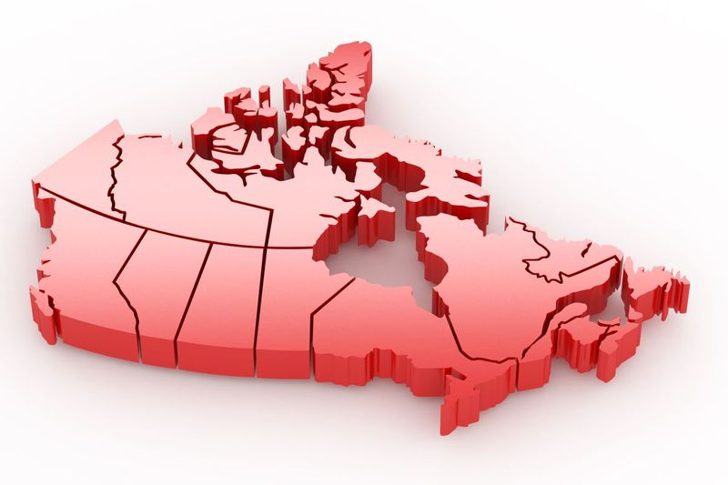 Canadian provinces 3 dimensional map in red