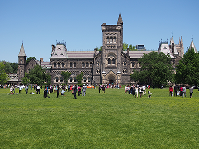Students in front of University of Toronto building