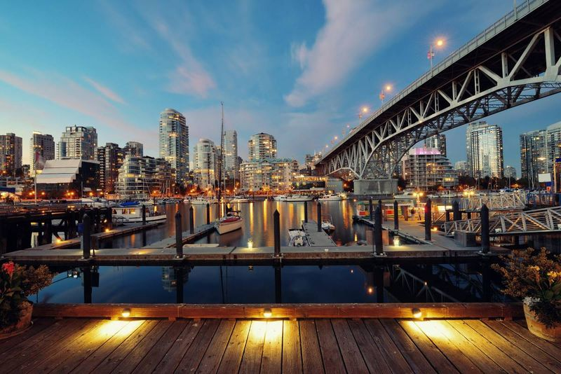 Vancouver False Creek at night | move to Canada