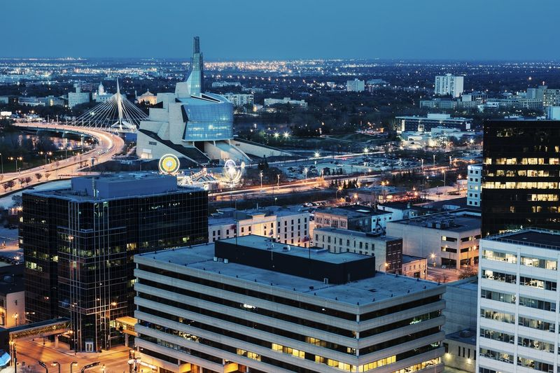 winnipeg panorama Manitoba city at night