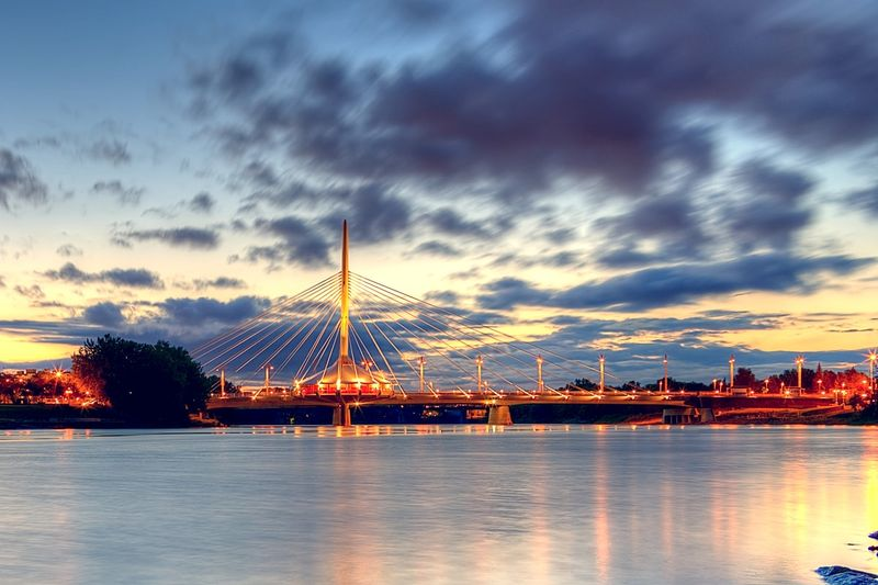 Wiinnipeg manitoba bridge sunset
