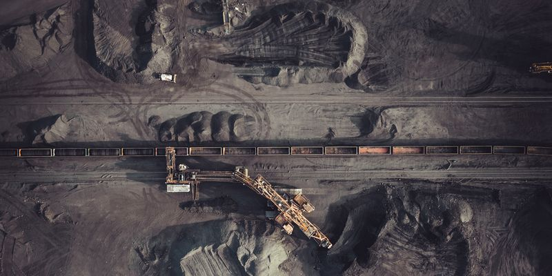 Aerial view of coal mining
