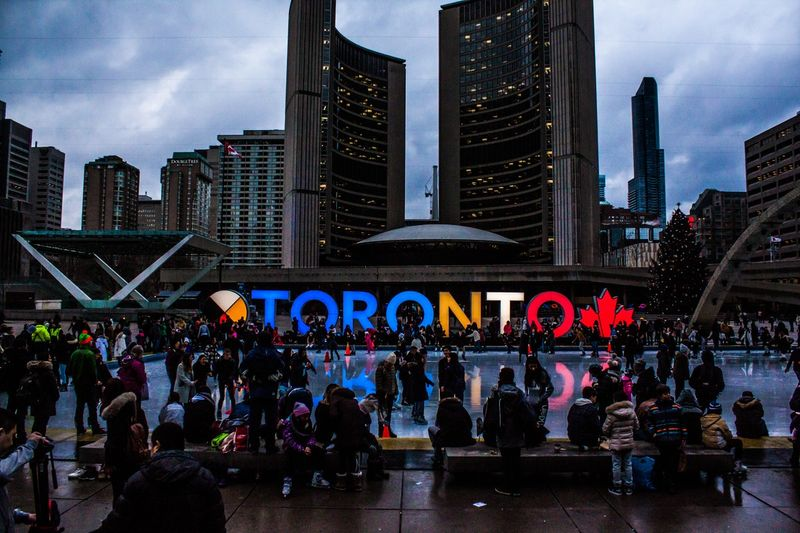Architecture and buildings in Toronto Canada at night