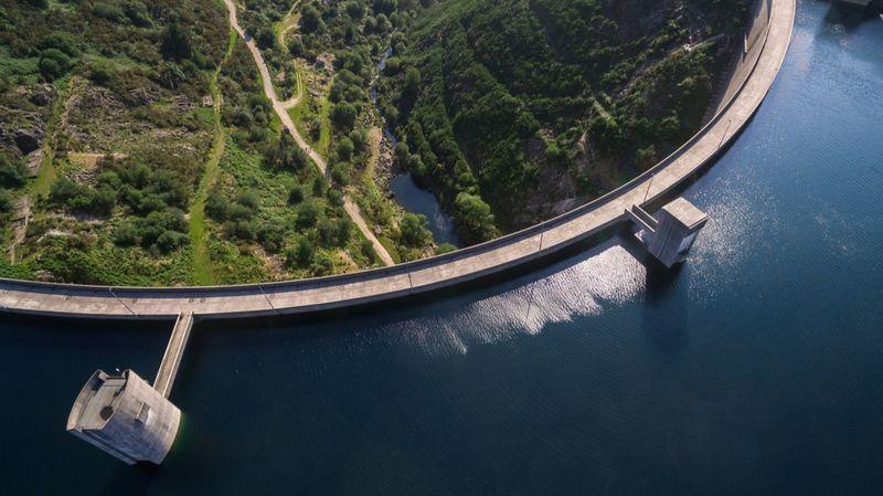 Ariel view of hydro electric dam