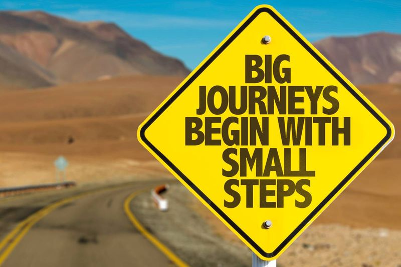 big journeys begin with small steps road sign in desert  | immigrate to Canada